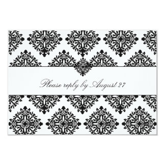 311 Phoebe Cream & Black Damask RSVP 9 Cm X 13 Cm Invitation Card