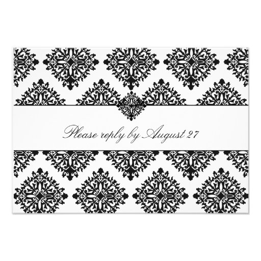 311 Phoebe Cream & Black Damask RSVP Personalized Announcements