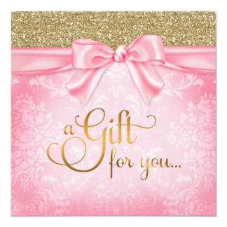 311 Pink Faux Glitter Gift Certificate Card