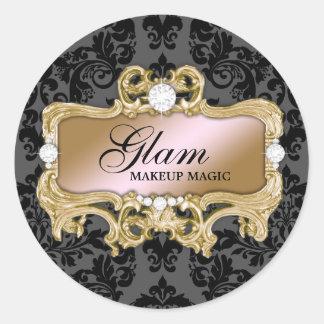 311 Pink Gold Glam Crazy Sticker Black Damask