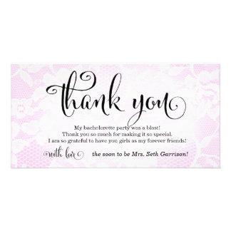 311 Pink Lace Thank You Bridal Bachelorette Customized Photo Card