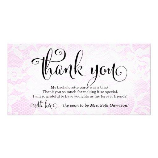 311 Pink Lace Thank You Bridal Bachelorette Personalized Photo Card