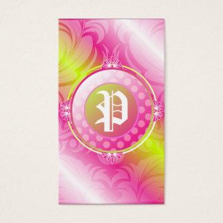 311-Pink Lime Sugar Monogram Business Card