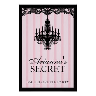 311 Pink Striped Boutique Bridal Poster