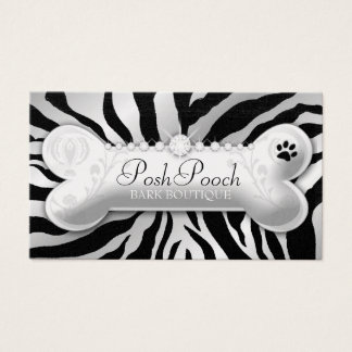 "311 Posh Pooch Pink Zebra ""Silver"" Business Card"