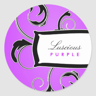 311-Roxy Purple and Black Classic Round Sticker