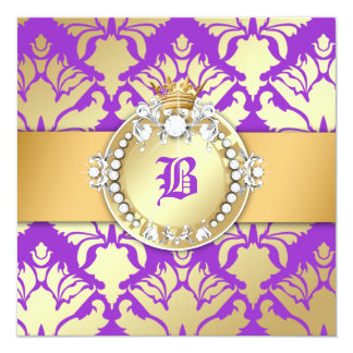 311-Royal Damask Shimmer Queen Sweet Sixteen 13 Cm X 13 Cm Square Invitation Card
