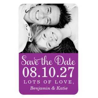 311 Save the Date Photo Magnet Magenta Purple