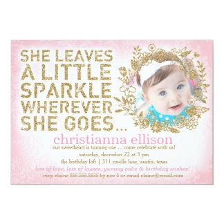 311 She Leaves A Little Sparkle Floral Wreath 13 Cm X 18 Cm Invitation Card