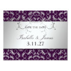 311 Silver Divine Eggplant Save the Date Card