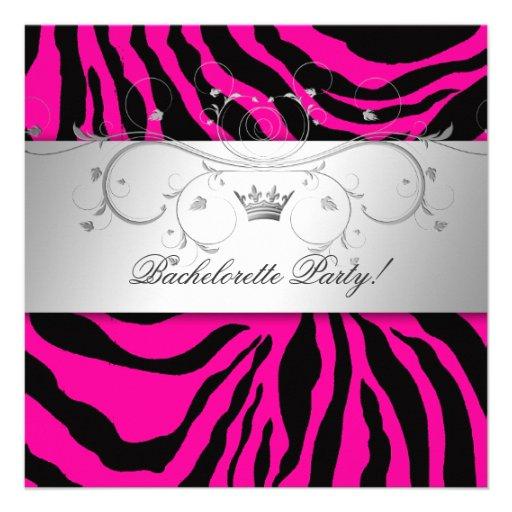 311-Silver Divine Hott Pink Zebra Bachelorette Custom Invites
