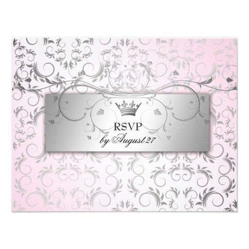 311-Silver Divine Hydrangea RSVP Sweet Pink Personalized Announcements
