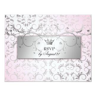 311-Silver Divine Hydrangea RSVP Sweet Pink 11 Cm X 14 Cm Invitation Card