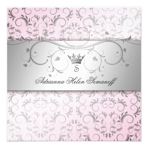 311-Silver Divine Sweet Pink Personalized Invitations