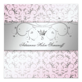 311-Silver Divine Sweet Pink 13 Cm X 13 Cm Square Invitation Card