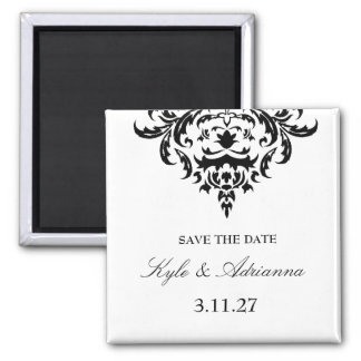 311-Simplisticly Elegant Damask Save the Date Square Magnet