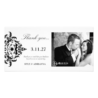 311-Simplisticly Elegant Damask Thank You Photo Greeting Card