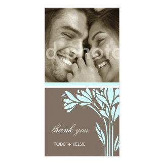 311-SKY FLORAL BURST - THANK U OR SAVE THE DATE CUSTOM PHOTO CARD