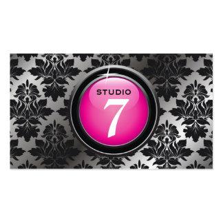 """311-Sleek """"Button"""" Blackberry Damask Business Card Template"""