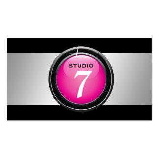 """311-Sleek """"Button"""" Hot Pink Business Card Template"""