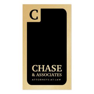 311-Sleek Corporate Monogram | Law Gold Card Business Card