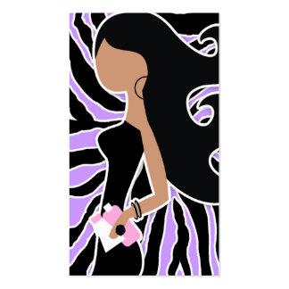 311-Spa Fashionista Purple Zebra Long Hair Business Card