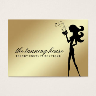 311 Spray Tan Fashionista Silhouette Gold Gradient Business Card
