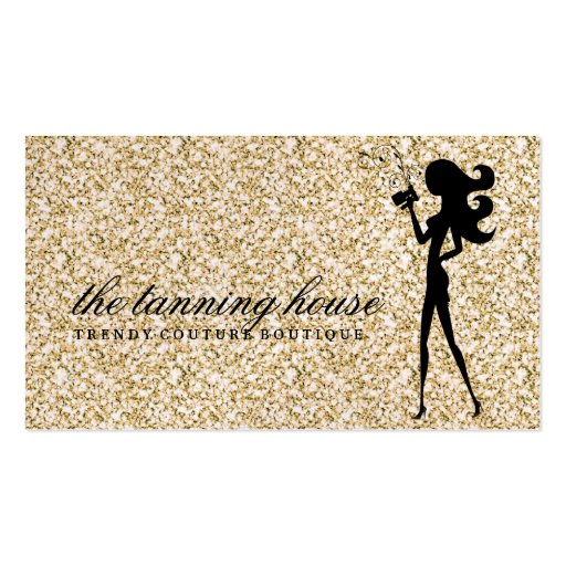 311 Spray Tan Fashionista Silhouette Gold Sparkle Business Card Templates