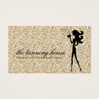 311 Spray Tan Fashionista Silhouette Gold Sparkle Business Card