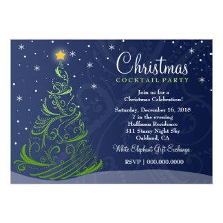 311 Starry Night Christmas Invite Blue