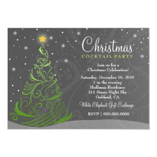 311 Starry Night Christmas Invite Gray