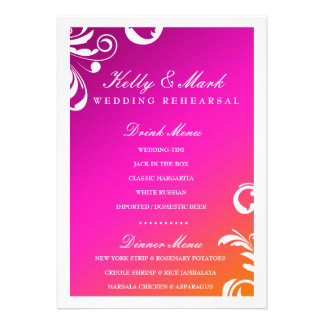 311-Swanky Swirl Dinner Drink Menu Wild Sunset Personalized Announcements