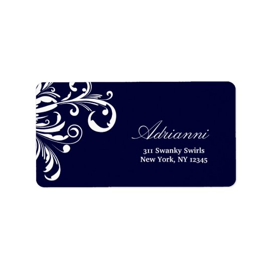 311-Swanky Swirls Navy Blue Label Address Label