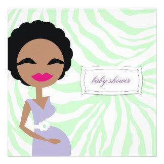311-Sweet Pregnant Mommy Zebra - Ethnic Custom Invites