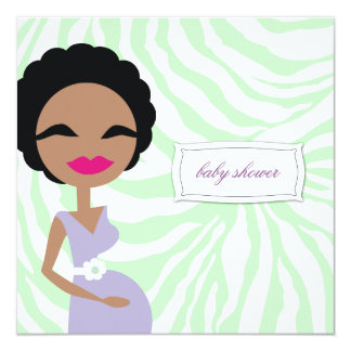 311-Sweet Pregnant Mommy Zebra - Ethnic Custom Announcements