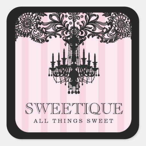 311 Sweetique Pink Stripes & Lace Chandelier Sticker