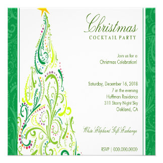 311-Swirly Colorful Christmas Tree Green Custom Announcements