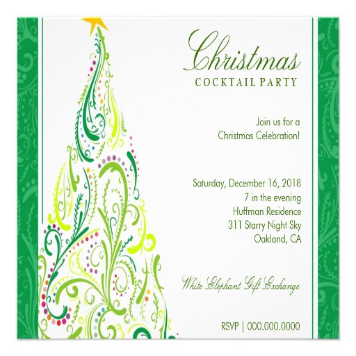 311-Swirly Colorful Christmas Tree | Green Custom Announcements