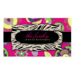 311-The Funky Jungle   Pink Flowers Business Card Template
