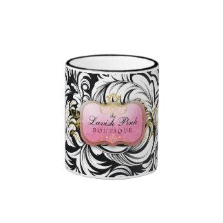 311-The Lavish Pink Plate Black Coffee Mugs