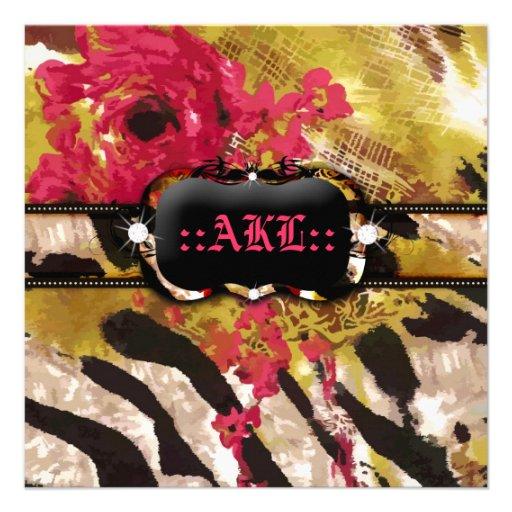 311-Tigress / Zebra Rose Bachelorette Custom Invitations