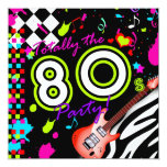 311-Totally the 80s Party - Red Guitar 13 Cm X 13 Cm Square Invitation Card