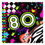 311-Totally the 80s Party - Red Guitar Personalized Invitations