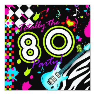 311 Totally the 80s Party - Turquoise Guitar 13 Cm X 13 Cm Square Invitation Card
