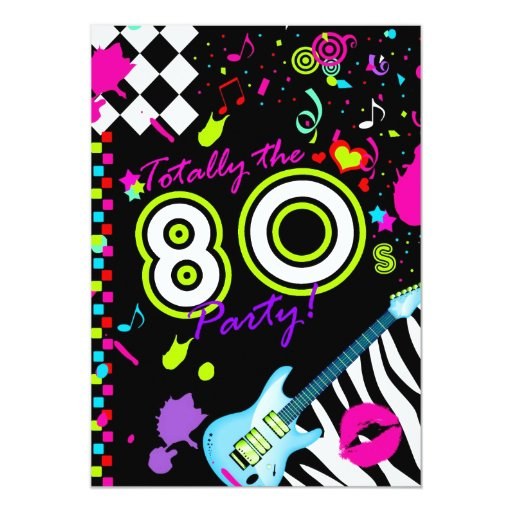 311-Totally the 80s Party - Turquoise Guitar 13 Cm X 18 Cm Invitation Card
