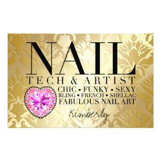 311 Tres Chic Damask Nail Tech Diamond HeartFlyer 14 Cm X 21.5 Cm Flyer