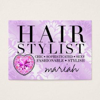 311 Tres Chic Hair Stylist Damask Diamond Heart
