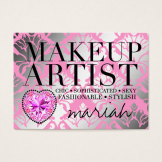 311 Tres Chic Makeup Artist  Damask Diamond Heart Business Card