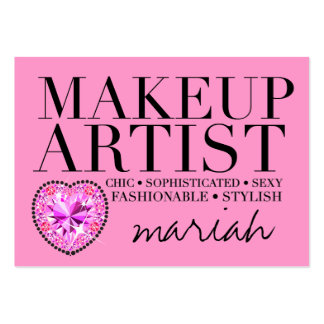 311 Tres Chic Pink Makeup Artist Diamond Heart Pack Of Chubby Business Cards