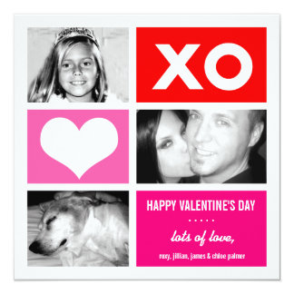 311-Triple Square Valentine Custom 13 Cm X 13 Cm Square Invitation Card
